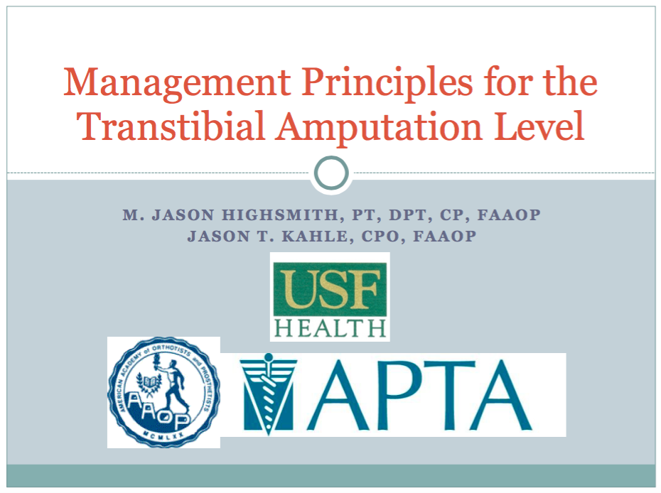 Management Principles of Transtibial Amputation